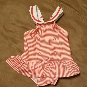 Red & white striped sailor one piece swimsuit